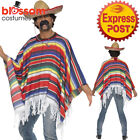 CA299 Striped Authentic Mexican Poncho Wild West Cowboy Spanish Mexico Costume
