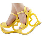 Yellow Strappy Heart Heel Wedge Bridesmaid Wedding Sandals Size 4/5/6/7/8/9/10