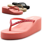ollio Cammie Women Wedge Thong Sandal With Rectangle Stud Straps