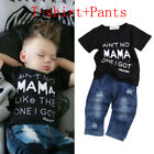 Newborn Toddler Kids Boys Clothes T Shirt Tee Top +Denim Pants Outfits Set USA