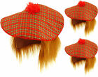 Pack of 3 Tartan Scottish Hat with Ginger Hair Tam O Shanter Fancy Dress Hat