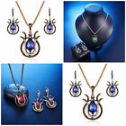 Women Chic Red Green Blue Chain Luxurious Pendant Necklace Earrings Sets