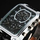 Classic Mens Oversize Square Dress Watch Analog Quartz Leather Band Wrist Watch