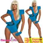 Lady Gaga Poker Face Swimsuit Blue Pop Rock Star 80s 1980s Womens Ladies Costume