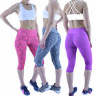 Ladies Sports Leggings Womens Fitness Running Gym Exercise Yoga Print Crop Capri