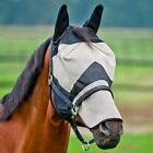 Horze Full Face Protection Ears Nose Fly Mask Net - Black/Brown