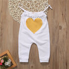 Newborn Baby Girls Sleeveless Romper Heart Jumpsuit Bodysuit Outfit Clothes 0-3T