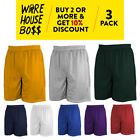 3 PACK HI MENS PLAIN MESH SHORTS 2 POCKET CASUAL BASKETBALL SHORTS GYM FITNESS