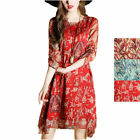 Women Summer Cocktail Evening Party Floral Short Sleeve Beach Loose Mini Dress