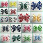 Baby/Girl Handmade 3 inch, 4 inch Gingham Party Bow School Hair Clips Bobbles