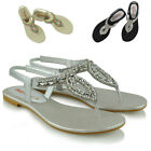 Womens Flat Slingback Sandals Diamante Toe Post Ladies Strappy T Bar Shoes Size