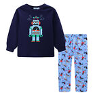 Pyjamas Boys Winter Long Cotton Top Flannel pants Pjs (Sz 3-7) Set Navy Robots (