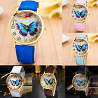 Womens Fashion Watch Butterfly Ladies Leather Band Analog Quartz Wrist Watches
