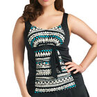 Elomi Swimwear Ravana Gathered Tankini Top Black 7032 NEW