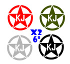 "KJ Jeep  Army military star X2 6"" decal  sticker jk cj yj tj wrangler ANY COLOR"