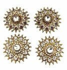 Indian Antique Royal Look Big Metal Buttons Stylist Diamante Sewing Craft 2 pc