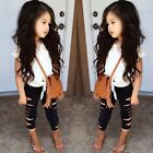 9 year old clothes girls - Girls Clothing Sets Kids Lace T-shirt & Ripped Pencil Pants Summer Child Outfits