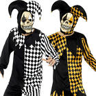 Evil Court Jester Mens Halloween Fancy Dress Circus Carnival Adults Costume New