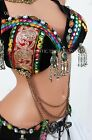 Midnight Black Nawaar Belly Dance Bra Tribal Fusion ATS
