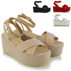 Womens Strappy Wedge Heel Sandals Ladies Platform Shoes Size 3-8