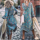 Vintage Womens Boho Long Maxi Dress Plus Size Summer Casual Beach Loose Sundress
