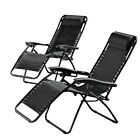 2 x Zero Gravity Chair Folding Lounger Garden Patio Summer Deck Bathing Recliner