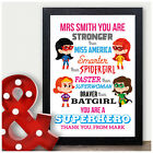 Personalised Teacher Thank You Gifts Female Super Hero TA Nursery Pre School