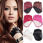 New Fashion Half Finger Leather Gloves Ladys Fingerless Driving Show Gloves