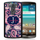 PERSONALIZED RUBBER CASE FOR LG G6 G5 G4 G3 NAVY PINK PAISLEY