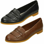 Ladies Clarks Andora Crush Black Or Tan Leather Smart Slip On Loafer Style Shoes