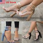 ladies shoes - US Womens Ladies Block High Heels Buckle Ankle Strap Open Toe Sandals Shoes Size