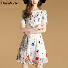 2017 Summer New Commuter Short Sleeve Round Neck Embroidery Dress