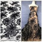 Handmade 3D flowers pearls rhinestones feather and sequins on mash lace fabrics