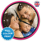X-Large Personalised Custom Round Photo Wall Clock | Pink & Glass | 35.5cm