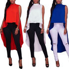 Fashion Women Sleeveless Loose Solid Swallow-tail Shirt Tops Blouse Ladies Top