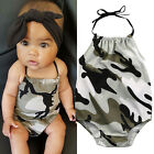 Camo Infant Baby Girl Halter Bodysuit Romper Jumpsuit One-pieces Outfits Set USA