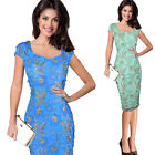 Women Elegant 3D Embroidery Mesh Party Cocktail Evening Bodycon Pencil Dress