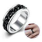 Stainless Steel Ring 10685.2oz with portable Chain Rotary unisex Spin black RE37