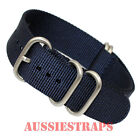 PREMIUM ZULU® 5 Ring NAVY BLUE SS Military Diver's Watch Strap Band NYLON SS