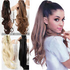 """UK 17-26"""" Clip In Ponytail Hair Extensions Claw On Pony Tail Curly Straight Wavy"""