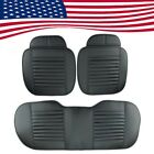 Black PU Interior 3xCar Seat Cushion Cover Pad Bamboo Charcoal US Ship Universal