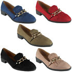 New Womens Ladies Faux Suede Low Heel Slip On Loafers Chain Shoes Flats Size