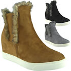 Womens Ladies Chelsea Fur Lining Hidden Wedge Ankle Boots Shoes Sneakers Size