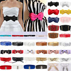 Fashion Women Buckle Stretch Waist Belt Boho Wide Thin Elastic Bowknot Waistband