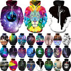 Unisex Galaxy Animal Graphic 3D Print Long Sleeve Hoodie Sweatshirt Coat Jacket