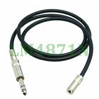 """DIY Extension Cable Leads L2T2S 3.5mm jack stereo Ni to 6.35mm 1/4"""" plug TRS"""