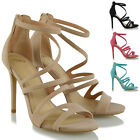 Womens High Heel Strappy Sandals Peeptoe Ladies Stiletto Zip Evening Party Shoes