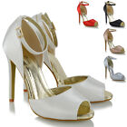 Womens Ankle Strap High Heel Sandals Ladies Peep Toe Cut Out Satin Party Shoes