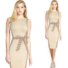 Women Optical Illusion Elegant Check Bow Contrast Work Casual Party Pencil Dress