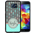 PERSONALIZED RUBBER CASE FOR SAMSUNG S8 S7 S6 S5 EDGE PLUS ARROWS TEAL POLKA DOT